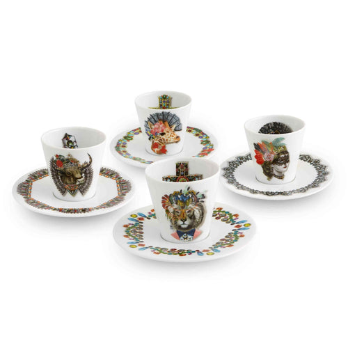 Vista Alegre set of 4 mocha cups and saucers with contemporary animal print designs by Christian Lacroix.