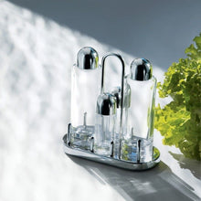 Alessi 5070 Condiment set: oil, vinegar, salt and pepper in 18/10 stainless steel mirror polished and crystalline glass.
