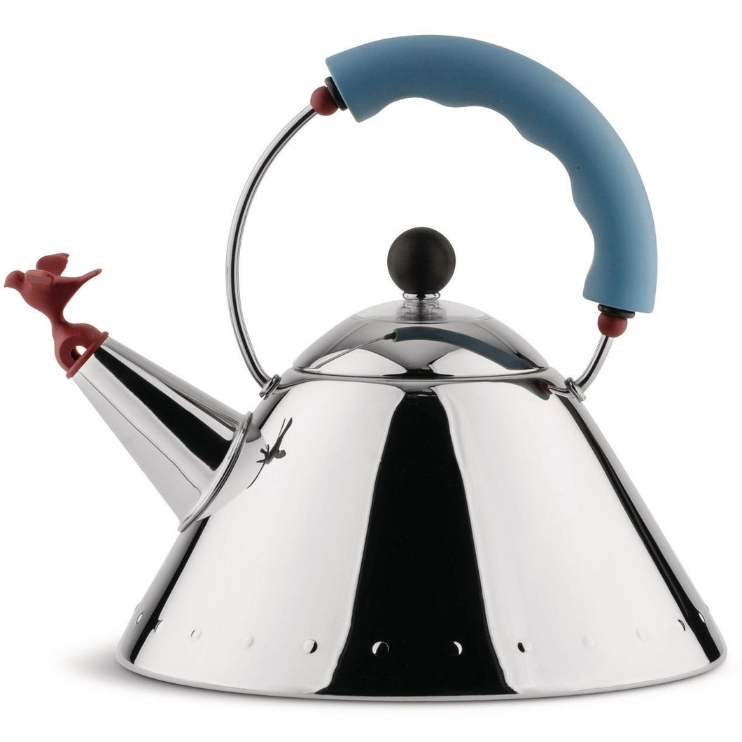 Kettle in 18/10 stainless steel mirror polished with Blue handle and small Red bird-shaped whistle in PA. Magnetic steel heat-diffusing bottom. Design: Michael Graves 1985 for Alessi, Italy.