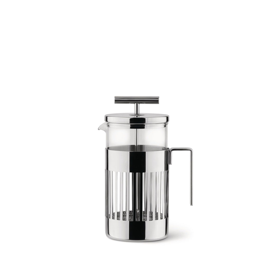Press filter coffee maker or infuser in 18/10 stainless steel and heat resistant glass.