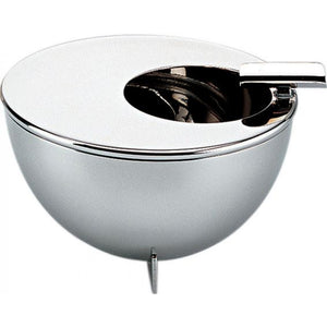 Ashtray with round opening and cigarettes-stand, in 18/10 stainless steel mirror polished.
