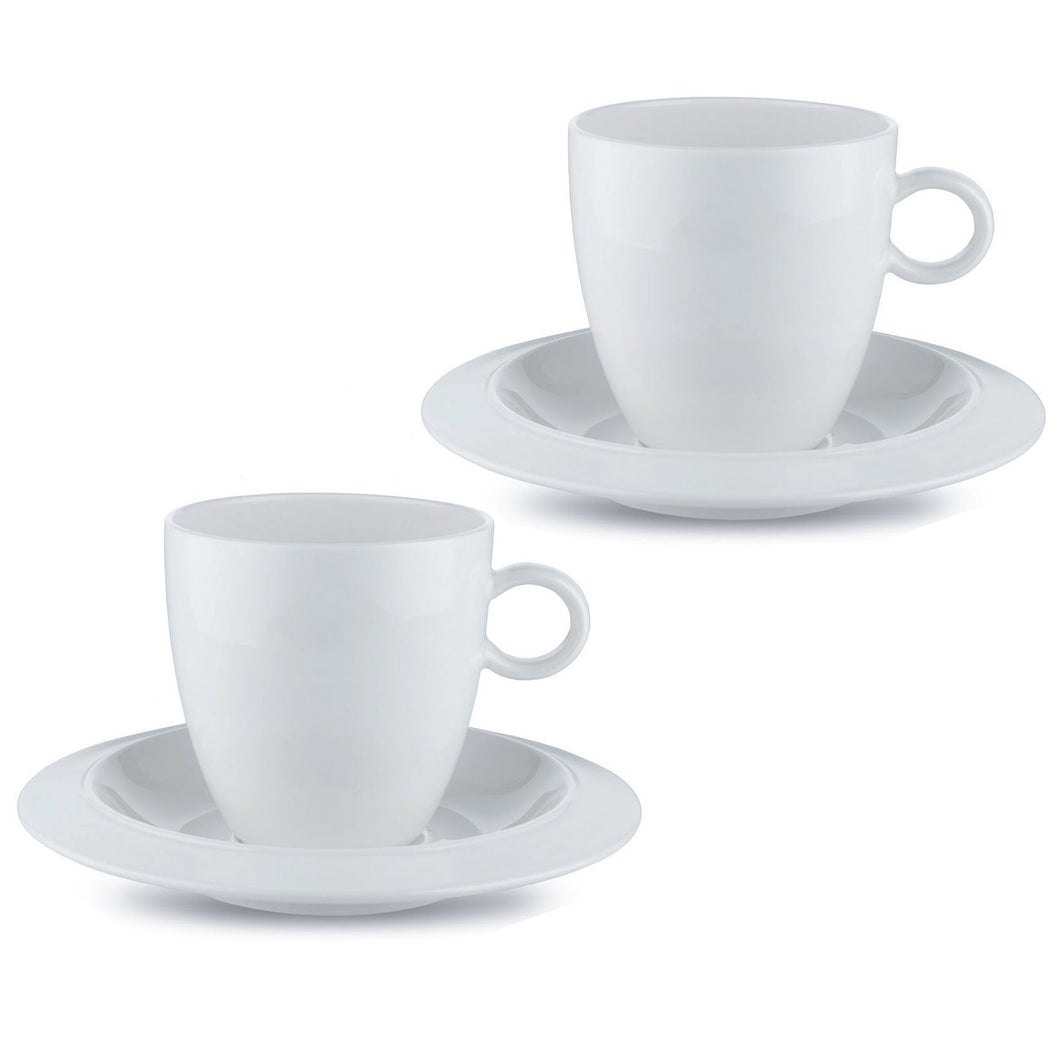 Set of two coffee cups with saucers in bone china.