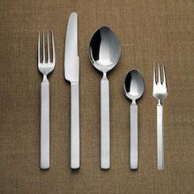 Cutlery set composed of six table spoons, six table forks, six table knives, six coffee spoons in 18/10 stainless steel mirror polished.