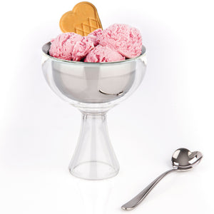 Alessi Big Love Ice Cream Bowl with Heart Shaped Spoon