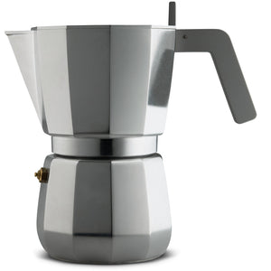Espresso coffee maker in aluminium casting. Handle and knob in PA, grey. Magnetic steel bottom suitable for induction cooking. Filter for American coffee included. 9 cups.