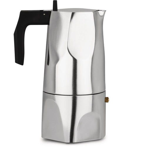 Espresso coffee maker in aluminium casting. Handle and knob in thermoplastic resin, black.