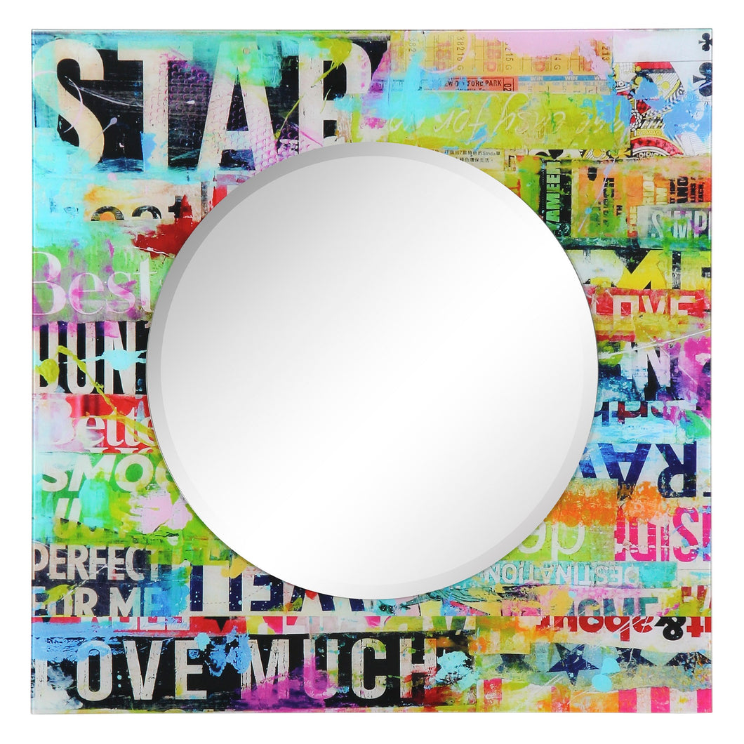 Glass Art Print Wall Mirror Star