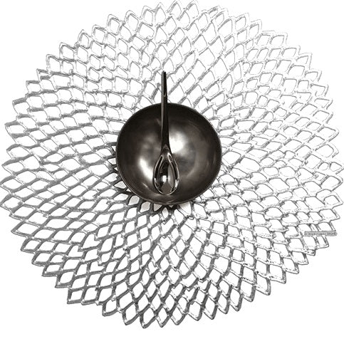 Chilewich Dahlia Round placemat Silver