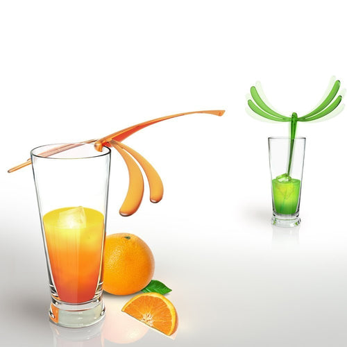 Set of 6 Reusable Dragon Fly Cocktail Stirrers