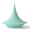 A uniquely designed silicone storage vessel with a tall pointed lid, mint.
