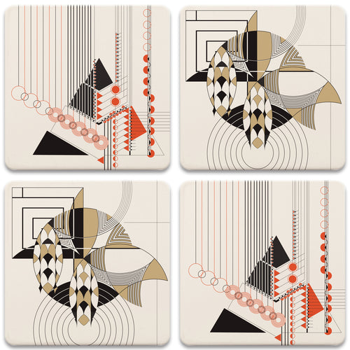 Frank Lloyd Wright Coasters Set Masselink Geometric Adornment