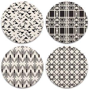 Frank Lloyd Wright Coasters Set Black and White