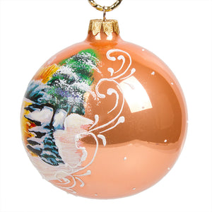Winter Forest Glass Christmas Ball Ornament