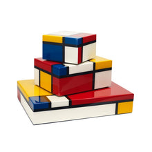 Mondrian Inspired Lacquer Wood Boxes