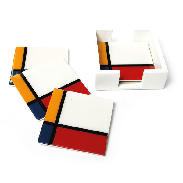 Mondrian Inspired Lacquer Wood Coasters