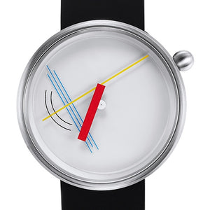 White and steel watch face with colorful hands inspired by Gestalt psychology, and silicone band. Features an abstract design with lines and curves designed to find meaning in a chaotic world.