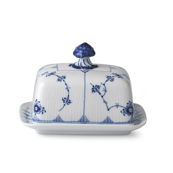 Royal Copenhagen Blue Fluted Plain Butter Jar, Dish w/Lid
