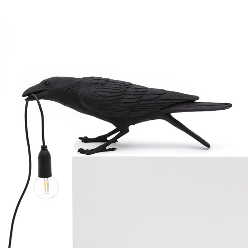 seletti bird lamp playing black