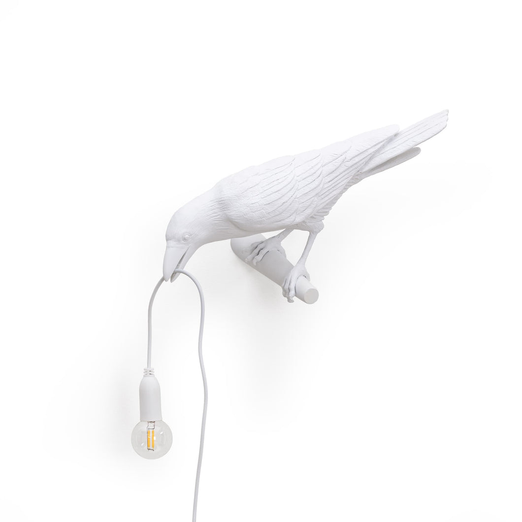 Seletti white bird lamp looking