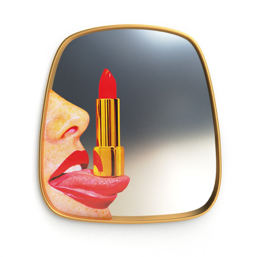Seletti Gold Frame Red Lipstick Wall Mirror