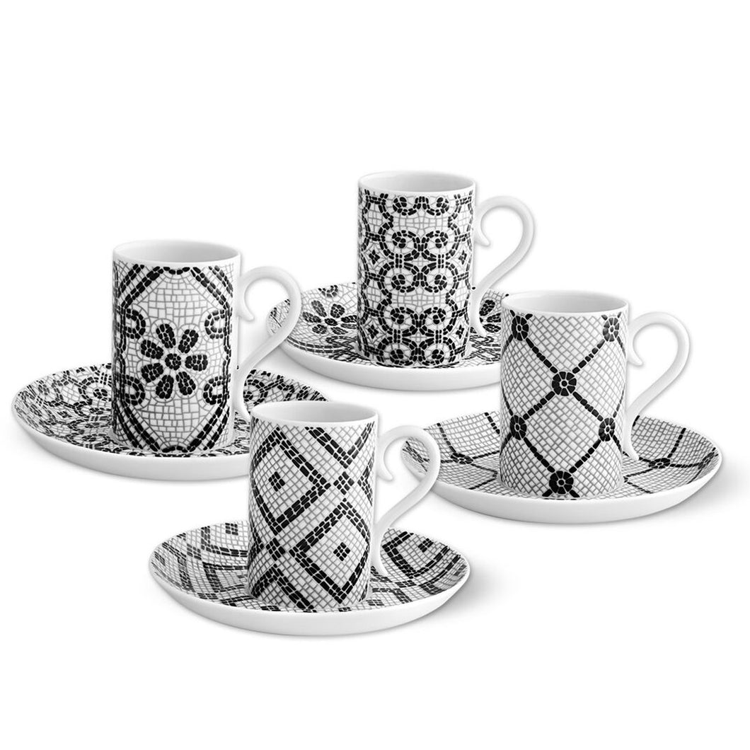 Vista Alegre Portuguese Style Sidewalk Coffee Cups and Saucers Set of 4