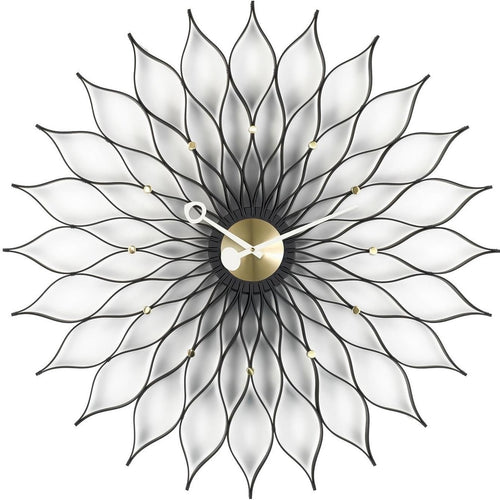 Vitra Sunflower Clock Black and Brass 1958 by Gerge Nelson