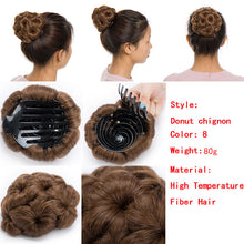Load image into Gallery viewer, Hair Bun Donut Clip Extensions