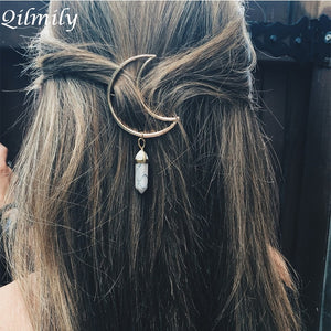 Natural Stone Quartz Crystal Crescent Moon Hair Pin