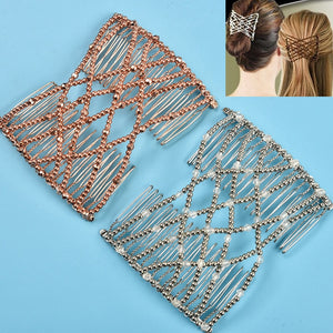 Elastic Magic Hair Bun Maker Claw Gold/Silver Beads Hair Clip