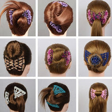 Load image into Gallery viewer, Elastic Magic Hair Bun Maker Claw Gold/Silver Beads Hair Clip
