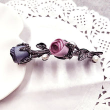 Load image into Gallery viewer, Crystal Rose Hair Accessories Rhinestone Leaves Barrettes