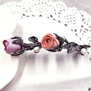 Crystal Rose Hair Accessories Rhinestone Leaves Barrettes