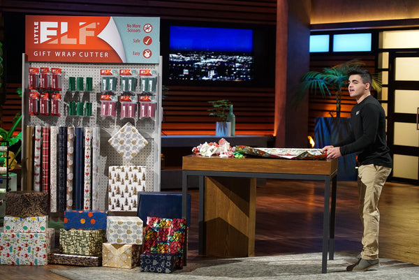 Bryan Perla with Little ELF wrapping paper cutter on Shark Tank