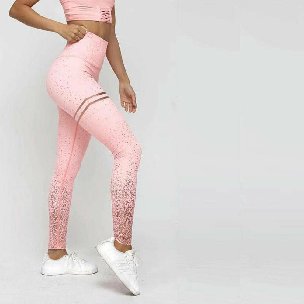 Stamping Yoga Pants Golden High Waist Sports Leggings