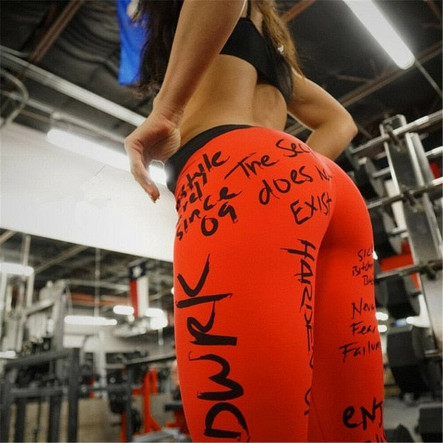 Women Leggings Words Printed Push up