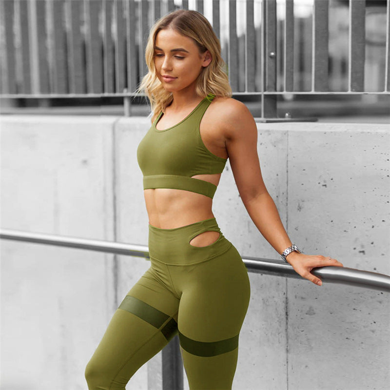 Gym 2 PCS Set Workout Clothes for Women Sports Bra and Leggings