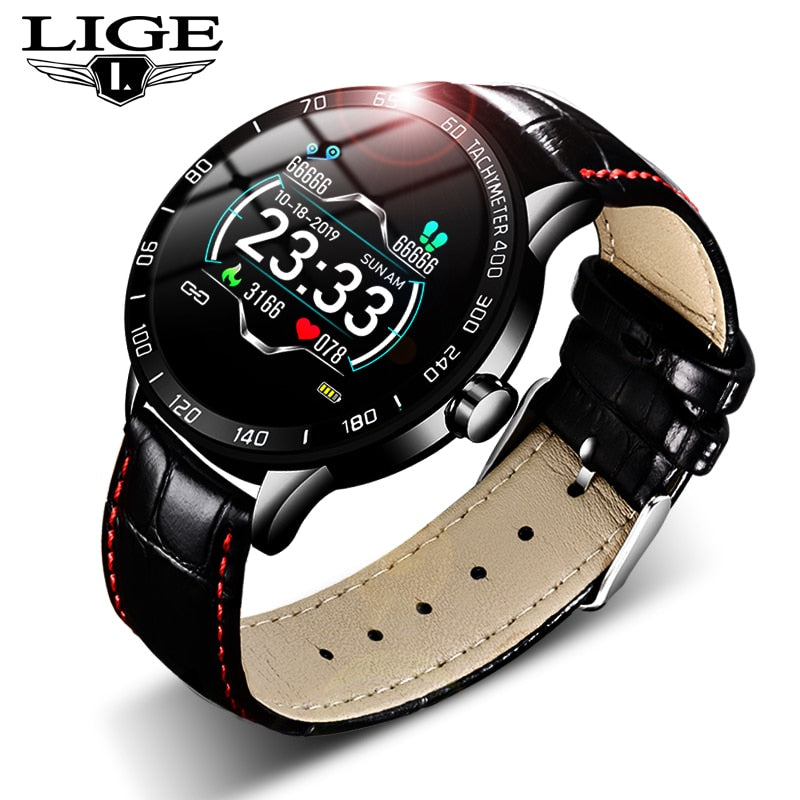 LIGE New leather smart watch men