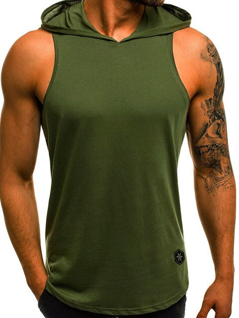 Men Fitness Hoodies Tank Top Sleeveless