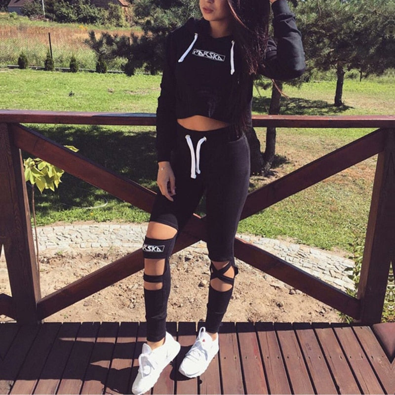 Crop Top Hoodie + Pants Two Piece Set Cut Out  Bottoms Hooded Tracksuit Suit