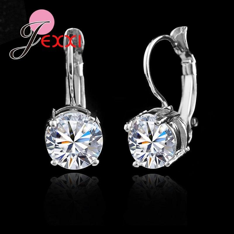 Sterling Sliver Fashion Jewelry Shining Micro Clear Crystal Earrings