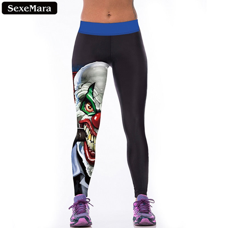 SexeMara High Quality Evil Clown Leggings Women Cartoon