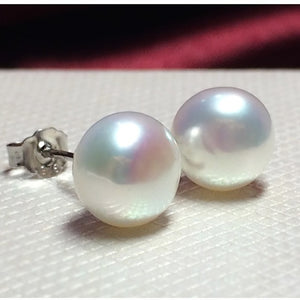 Pearl white pink purple blue Silver Stud Earrings