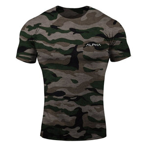 Men Camouflage Sport Training Cotton T-shirt