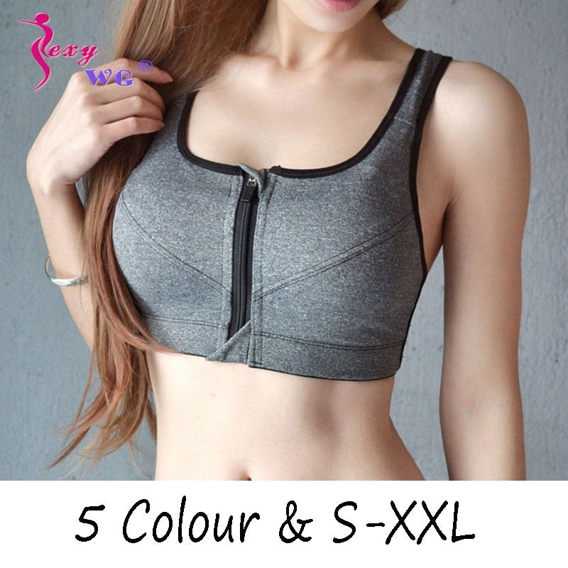 SEXYWG Hot Women Zipper Push Up Sports Bra