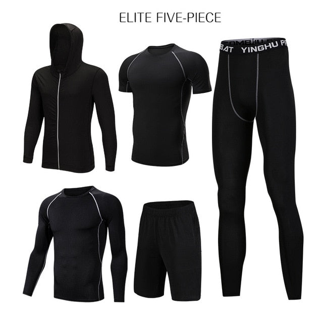 REXCHI 5 Pcs/Set Men's Tracksuit Sports Compression