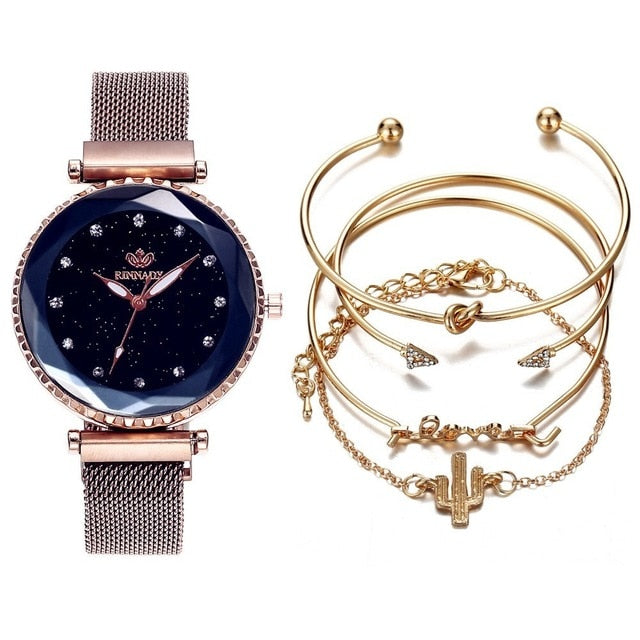5pc/set Luxury Brand Women Watches Starry Sky Magnet