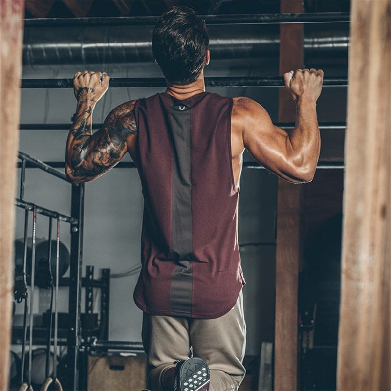 Mens Curved Patchwork Gyms Stringers Vest