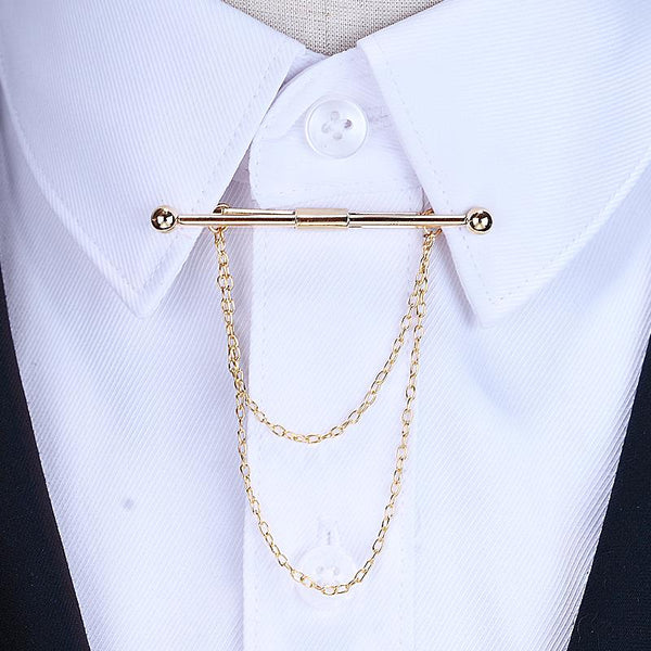 Brooch Tassel Chain Clip Collar Shirt Buttoned Pin Male Accessories