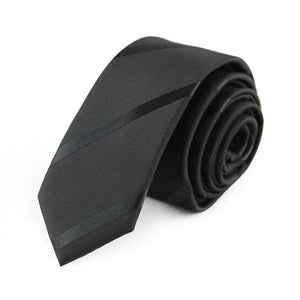 "Exclusive 59"" Long Mens Skinny Ties Black Polyester"