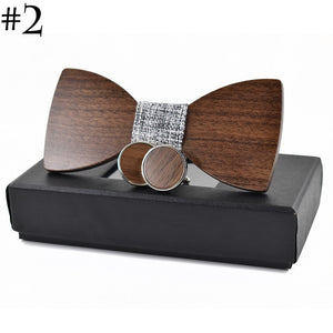 Fashion Wedding Wood Bow Tie Cufflinks Set